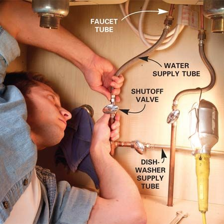 <b>Photo 8: Connect the supply lines</b></br> Connect the faucet to the shutoff valves with braided stainless steel supply tubes. Hold the valve with one wrench while tightening the nut with a second wrench.