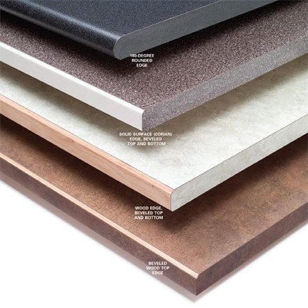 <b>Common countertop edge treatments</b></br> Solid surfaces, wood edges and beveled top edges are all popular treatment options.