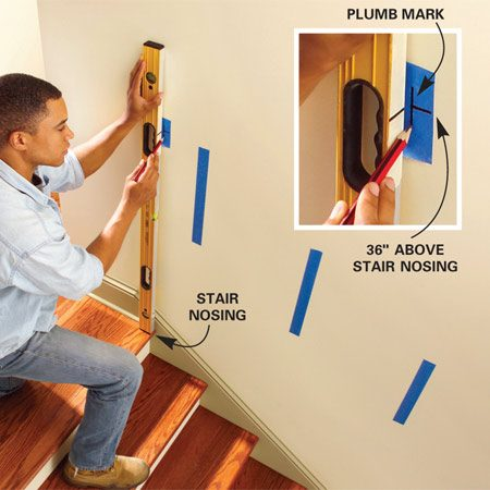 <b>Photo 2: Plumb up from the front edge</b><br/>Plumb up from the front edge of the top stair nosing and stick a piece of tape to the wall. Make a vertical line even with the front of the nosing and a horizontal line at 36 in. Do the same at the bottom tread.