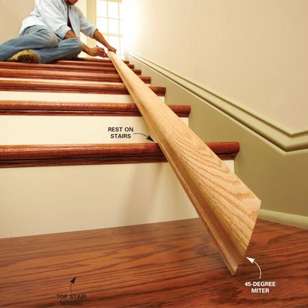 <b>Photo 3: Cut a 45-degree miter</b></br> Cut a 45-degree miter on one end of the rail and rest this end on the floor. With the rail resting on the front of the stair treads, mark where the rail contacts the top stair nosing (see inset photo).