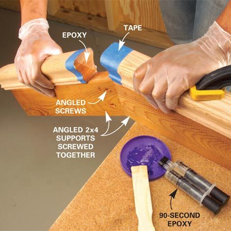 <b>Photo 6: Use epoxy to join the sections</b></br> Mix 90-second epoxy for 30 seconds, apply a thin layer to the end of both rail sections, and press and hold the pieces together for one minute until the epoxy starts to set. Carefully remove the protective masking tape after about five minutes. Let the epoxy harden for at least two hours.