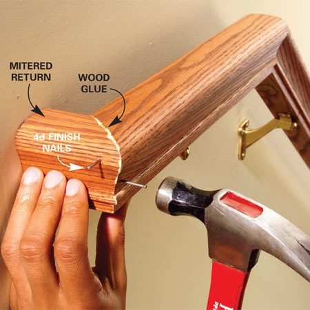 <b>Photo 13: Add the returns</b></br> Cut the short returns on your miter saw. Predrill 1/16-in. holes, then glue and tack the joint with 4d finish nails. Recess the nails with a nail set.