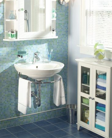 <b>The bathroom after the remodel</b></br> The new look is fresh, open and the bathroom is easy to clean.
