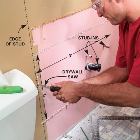 <b>Photo 3: Remove the drywall</b></br> Locate nearby studs and cut along the studs, removing a 2 x 3-ft. section of the drywall surrounding the plumbing stub-ins.