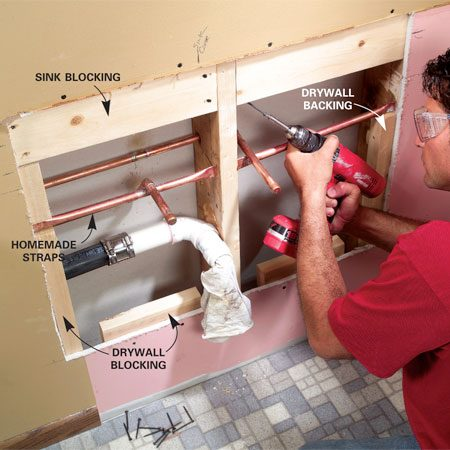 <b>Photo 7: Add support blocks</b></br> Mark the sink height, then toe-screw 2x6 backers to the studs to support the sink bolts, cutting out more drywall as necessary. Add more backers as necessary to support the new drywall.