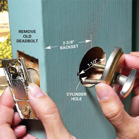 <b>Photo 1: Remove the old lock</b></br> Unscrew and remove the old deadbolt. Measure the hole size and backset distance before buying a new deadbolt.