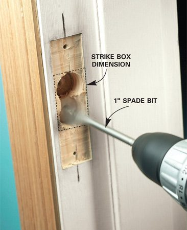 <b>Photo 3: Drill out the strike box</b></br> Drill two holes that span the strike box dimensions, using a 1-in. spade bit.