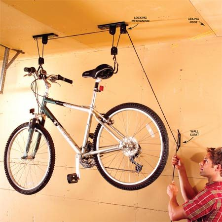 <b>Photo 2</b></br> Mount the safety rope cleat to a garage wall stud, out of a child's reach. Wrap the cord around the cleat to secure the bike.