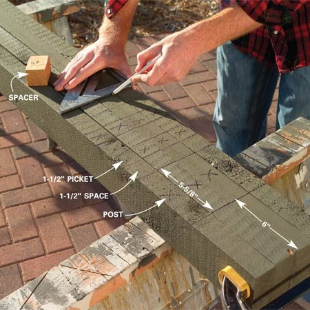 <b>Photo 1: Mark the post and picket locations</b></br> Clamp the four 2x4 rails together and mark the post and picket positions (see Figure A). Cut off the remaining ends 6 in. beyond the last post.