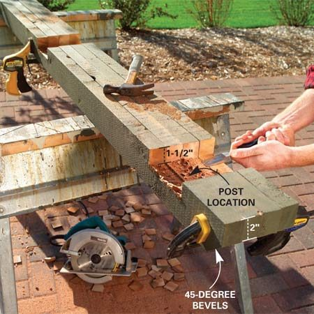 <b>Photo 2: Finish the cutouts with a chisel</b></br> Cut the 45-degree bevels on both ends. Flip over the rails and cut a series of 1-1/2 in. deep saw kerfs at the post locations, then break out the wood and flatten the bottoms with a chisel.