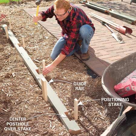 <b>Photo 3: Drive stakes to mark the postholes</b></br> Position the privacy panel postholes by laying a rail on the ground and driving two stakes behind it. Then drive stakes 2 in. away from the centers of the post notches to mark the postholes.