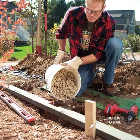 <b>Photo 4: Pour gravel in the post holes</b></br> Dig 8-in. diameter, 3-ft. deep postholes. Reposition the rail over the holes, then screw the rail to the positioning stakes and pour 6 in. of gravel into each hole.