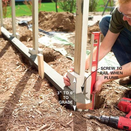 <b>Photo 5: Set the post bases in the post holes</b></br> Preassemble the 2x6 and 2x4 treated post bases and set them in the holes, nesting them into the rail notches. Plumb each post and temporarily screw them to the guide rail.