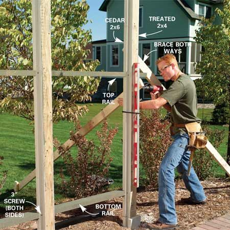 <b>Photo 7: Make the posts perfectly plumb</b></br> Screw the cedar 2x6s to one side of the 2x4s, then level and screw the two back rails in place using Figure A for the height details. Plumb and brace the posts in both directions.