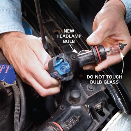 """<b>Start with the obvious suspect</b></br> Many new car bulbs are easily accessed from under the hood by turning a retaining ring and pulling the bulb socket out, but if you have to access the bulb by removing a lens (see your owner's manual), you may need to buy a """"torxrdquo tip screwdriver. Remove the old bulb and insert the new bulb. Don't touch the glass of the bulb with your bare hands because the oils on your skin can cause the bulb to fail. Reinsert the socket into the headlamp housing and turn on your lights. If they work, you're done; if they don't, go on to the next step."""
