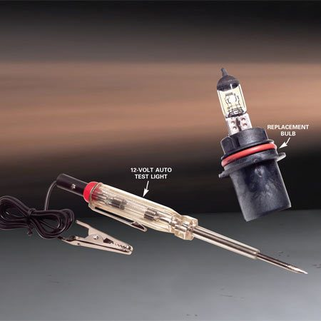 <b>Replacement bulb and test light</b></br> If a new bulb doesn't do the trick, use a tester to help find the problem.