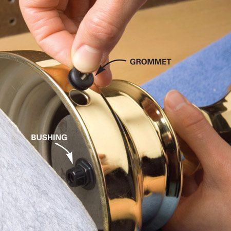 <b>Photo 1: A grommet protects the new cord</b></br> Cut the old cord at the socket and pull it out. Push a grommet into the cord hole and screw a bushing onto the tube, if they're missing.