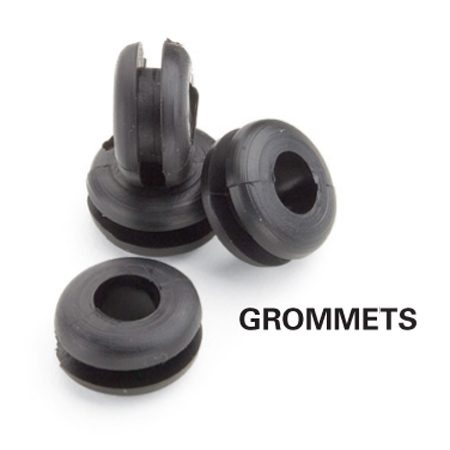 <b>Grommet close-up</b></br> Grommets for lamps are available at hardware stores.