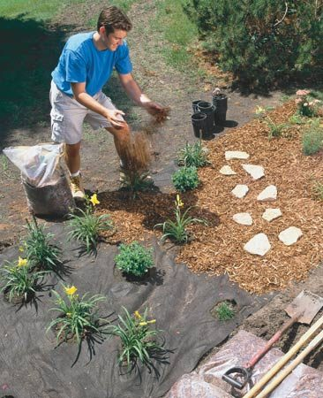 <b>Landscape fabric discourages weeds</b></br> When you start a new perennial border, spread non-woven polypropylene black landscape fabric over the soil. The fabric keeps weeds under control, holds heat in cool spring weather (giving your plants a faster start), and lets water soak through to the roots. At a local garden center, buy a nonbiodegradable fabric that weighs about 3.4 ozs. per square yard (about $10 for a 3 x 25-ft. piece). Use U-shaped metal stakes ($2 for a pack of 10) to hold down the fabric.