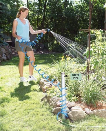 <b>Use galvanized pipe to corral your hose</b></br> If you have a small yard, don't waste any precious real estate on a bulky hose reel. Pound a 4-ft. length of galvanized steel pipe ($7 at home centers) into the ground, coil up to 50 ft. of hose around it and top the end with a nozzle that hooks into the pipe's end.