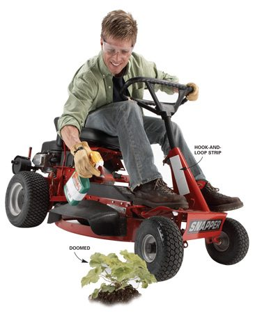 <b>Spray weeds as you mow</b></br> Attach a spray bottle of herbicide to your tractor or lawn mower so that when you're mowing your lawn, you can spray weeds right when you see them for weed control on the fly.