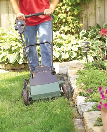<b>Bury stones to make a mow strip</b><br/>If you&#39;re building a fence, a retaining wall or a planter, set a course of protruding stones in the soil beneath it. That way, your mower can cut all the grass&mdash;no trimming by hand needed. The stones should protrude about 4 in. from the wall and stand at least an inch above the soil so grass doesn&#39;t creep over them. You will still have to pull out grass from between the stones occasionally.