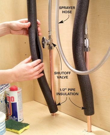 <b>Use pipe insulation to prevent sprayer snarls</b></br> If you have to jiggle the hose as you pull out your kitchen sink sprayer, chances are the hose is catching on the shutoff valves. For smooth operation, slip 1/2-in. foam pipe insulation over the pipes and shutoff handles. Tape it if it won't stay put. Get the insulation at home centers for about $3.