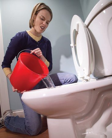 <b>Use a bucket of water to flush the toilet</b></br> You don't have to run to the neighbor's bathroom during a plumbing project. Before you turn off the water supply, fill 2- gallon buckets with water. Flush the toilet by dumping the water in the bowl. You'll get one flush per bucket. Works just as well as the usual method, although it won't refill the bowl.