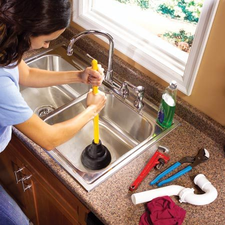 <b>Plunge water first before removing the trap</b></br> Before you remove a sink trap, give the drain a few plunges with a toilet plunger. This will push most of the water out of the trap, lessening the mess when you pull the trap. If you have a double sink, be sure to plug the other drain to contain the air pressure. If the strainer isn't a screw-down style, you'll have to hold it down while you plunge the drain.