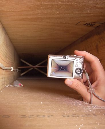 <b>Snap a shot with your camera or cell phone</b></br> If your project requires holes in the wall or ceiling, all you need is a digital camera or cell phone to see what's inside those dark spaces.