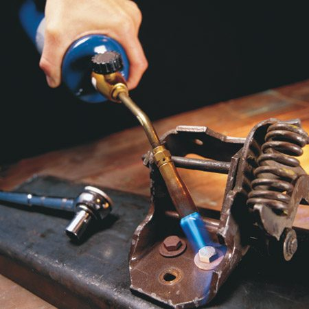<b>Use heat first</b></br> Heat, oil and tapping will unstick most nuts and bolts in metal. Apply only enough heat to cause expansion in the entire bolt—about a minute or so for the average-size bolt.
