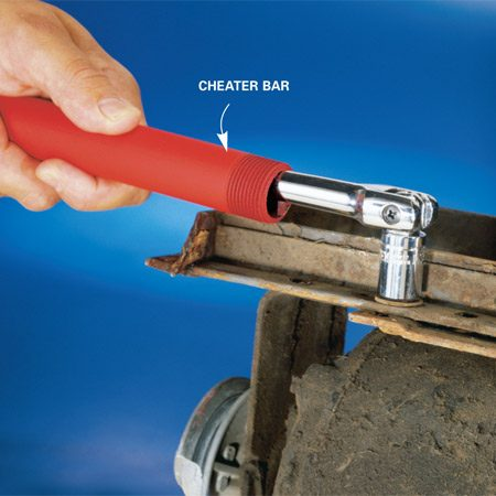 <b>Use a short pipe to gain leverage</b></br> Be a cheater by slipping a short length of pipe—a cheater bar—over the end of your tool handle. The extra length gives you much better leverage. Be careful, though, not to use so much force that you break the tool  (voiding the tool warranty) or break the head off the shank of the bolt. And remember to wear eye protection.