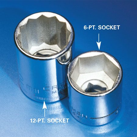 <b>Six point sockets get a better grip</b></br> You'll find that six point sockets get a better grip on hex nuts and bolts than 12-point sockets, which are designed to fit both hex and square fasteners.