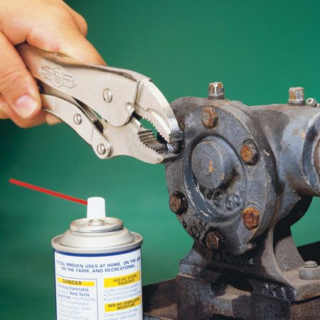 <b>Use locking pliers to grip the fastener</b></br> When a bolt head has become so rounded that a wrench won't get a bite, use locking pliers. Get a tight grip: You may have only two or three chances before the head gets so rounded that even this won't work. Use penetrating oil, heat and tapping if it slips after your first try.