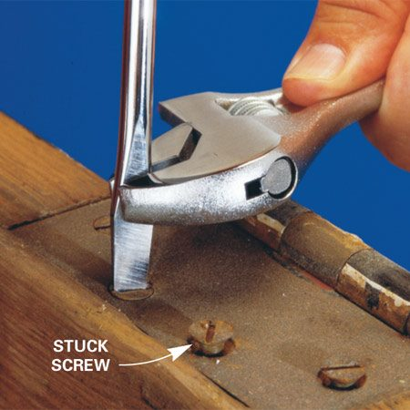 <b>Budge with a wrench and screwdriver</b></br> A wrench on a screwdriver blade will help beat that big screw that won't budge. First select the largest screwdriver that'll fit, and tap the butt of the screwdriver handle with a hammer to loosen the thread bond. Lean your weight onto the screwdriver to keep it in the slot as you turn it with the wrench. Careful—too much torque will bend the screwdriver tip.