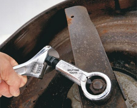 <b>Use a nut splitter to crack the nut</b></br> A nut splitter, also called a nut cracker, will crack any no-turn nut without damaging the threads of the bolt or stem that it's screwed onto. Just slip the ring over the nut and turn the tooth into the nut until it breaks. Find a nut cracker at home centers or through our affiliation with <a href='http://www.amazon.com/gp/product/B000NPZ4ZI/ref=as_li_ss_tl?ie=UTF8&tag=familhandy-20&linkCode=as2&camp=1789&creative=390957&creativeASIN=B000NPZ4ZI'>amazon.com</a>. Cost: $15.