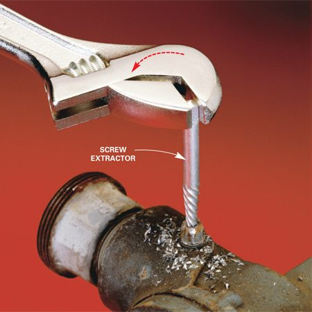 <b>Use a screw extractor to grab it</b></br> A screw extractor could save your day. It will grab just about any threaded fastener and remove it—even if the head has snapped off. It usually comes with a hardened drill bit to drill a hole in the center of your stubborn screw or bolt. Then you turn the extractor counterclockwise into the hole. Because of its tapered shape and lefthand thread, the extractor will jam in the hole and then begin to turn out the screw. Cost: $6 at hardware stores and home centers.