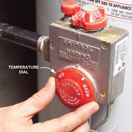 <b>Fine-tune the water heater temperature</b><br/>To find the recommended temperature of 120 degrees F. on an unnumbered dial, check the temperature of the water at different settings. Make a mark on the dial once you find the setting.