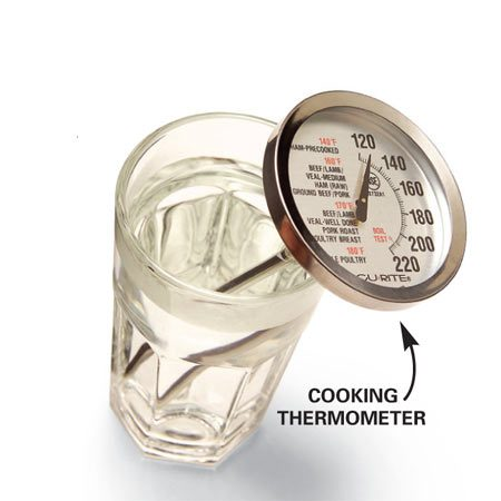 <b>Check the temperature</b></br> Run the hot water for several minutes, then check the temperature in a glass or pot with a thermometer.