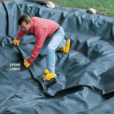 <b>EPDM liner</b></br> Use tough EPDM liner obtained from a pond supplier for the pond.