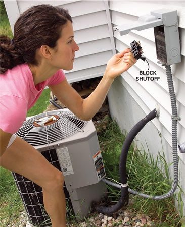 <b>Photo 1: Turn off the power</b></br> Turn off the electrical power to the condenser unit at the outdoor shutoff. Either pull out a block or move a switch to the off position. If uncertain, turn off the power to the AC at the main electrical panel.