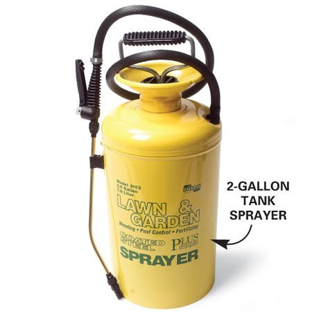 <b>Photo 2A: Close-up of tank sprayer</b></br> Add herbicide and water and pump to pressurize.