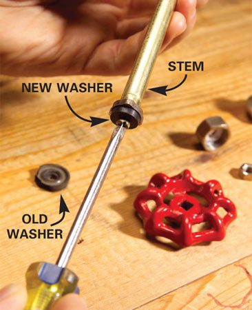 <b>Photo 3: Replace the washer</b></br> Unscrew the rubber washer at the end of the stem and replace it. Put the faucet back together by reversing the previous steps.