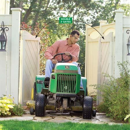 <b>Plan for two gates</b><br/>Make extra wide gates to accommodate lawn equipment.