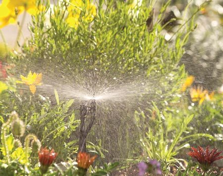 <b>Sprinklers</b></br> These are miniature versions of sprinklers you might use in the yard. Most have flow rates between 14 and 40 gph and cover a radius of 3 to 30 ft. Since most sprinklers have a relatively high flow rate, you can't use more than about 15 or 20 in one zone of 1/2-in. tubing.
