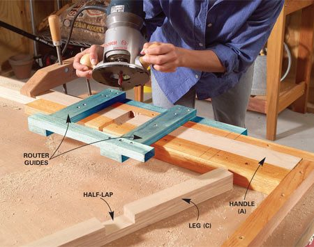 <b>Photo 1: Router jig</b></br> Cut all the cart parts to the exact dimensions and assemble the router jig as shown in Figure A. Align the jig guide for 1-1/2-in. half-laps, clamp the bases and handles in place and cut the half-laps. Reset the guide for the 2-1/2-in.-wide half-laps and rout the leg joints.