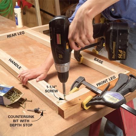 <b>Photo 4: Assemble the sides</b></br> Spread glue on the half-lap joints and clamp the cart side parts into the 90-degree corner of the jig. Predrill and drive a pair of screws into each joint.