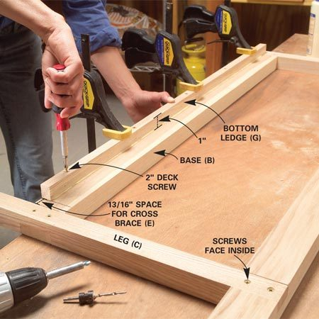 <b>Photo 5: Add the ledges</b></br> Attach a bottom ledge (G) to the inside of each base (B) with glue and screws. Tighten the screws at the ends by hand to avoid splitting the end of the ledge.