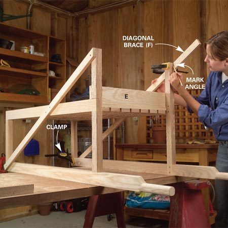 <b>Photo 8: Add diagonal braces</b></br> Flip the cart upside down, clamp the diagonal braces (F) into position at the front of the cart, and mark the angle cut at the leg. Cut, then glue and screw them to the top, base and leg with 1-5/8-in. screws.
