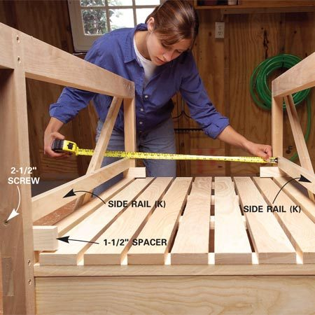 <b>Photo 9: Add side rails</b></br> Position the side rails (K) and screw them to the rear legs (C) and diagonal braces (F). Cut the front rail (L) to fit between the side rails and screw it to the front legs. Then screw the side rails to the front rail.